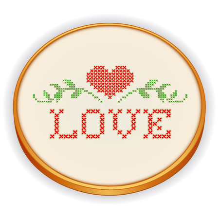 Embroidery, Love with a big red heart, decorative cross stitch needlework sewing design on fabric in retro wood hoop Vector