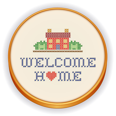 Broderie, Welcome Home Banque d'images - 24621481