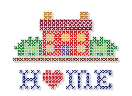 punto cruz: Inicio con un diseño grande del corazón de punto de cruz bordado retro, casa de costura en el gráfico paisaje, aislado en fondo blanco