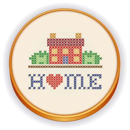 punto croce: Casa con un ricamo a punto croce sul cuore grande retr� cerchio di legno, design casa cucito nel paesaggio grafico, isolato su sfondo bianco