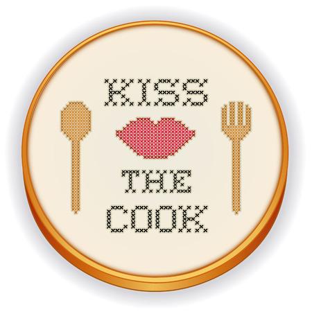 punto cruz: Bese al cocinero de punto de cruz bordado en aro de madera retro con labios rojos grandes, tenedor de cocina y diseño de cuchara de la costura aisladas sobre fondo blanco Vectores