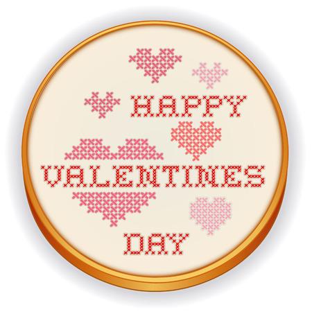punto croce: Buon San Valentino Punto Croce Ricamo su telaio di legno retr� con grandi cuori rossi e rosa, isolato su sfondo bianco