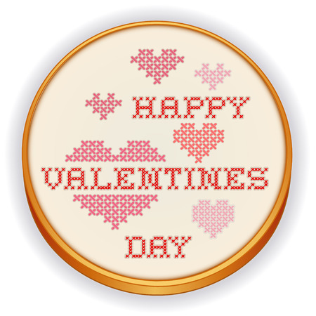 Happy Valentines Day Cross Stitch Embroidery on retro wood hoop with big red and pink hearts, isolated on white background  Ilustração