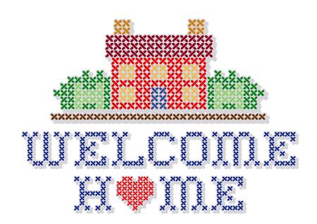 Welcome Home met een groot hart dwarssteekborduurwerk retro design, handwerk huis in landschap grafisch, geïsoleerd op witte achtergrond