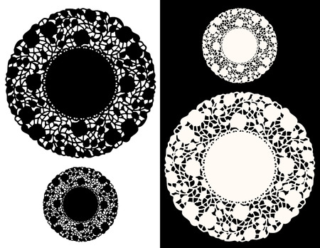compatible: Vintage Lace Doily Place Mats, floral pattern, black, white, large, small round designs for setting table, holidays, cake decorating  EPS8 compatible