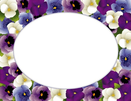 violas: Pansy Flower Oval Picture Frame  Spring Violas in lavender, purple, blue and white with copy space for posters, stationery, scrapbooks, albums