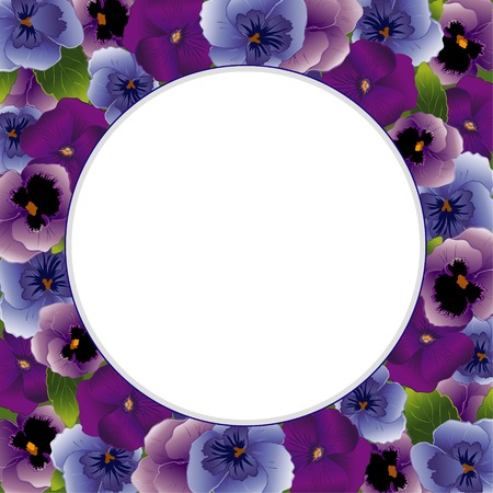 stationery border: Pansy Flower Round Picture Frame  Spring Violas in lavender, purple and blue with copy space for posters, stationery, scrapbooks, albums  Illustration