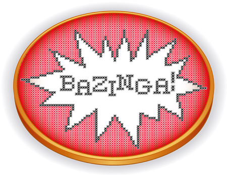Bazinga  Embroidery Cross Stitch in explosion frame design needlework sampler on retro wood sewing hoop isolated on white  Illustration