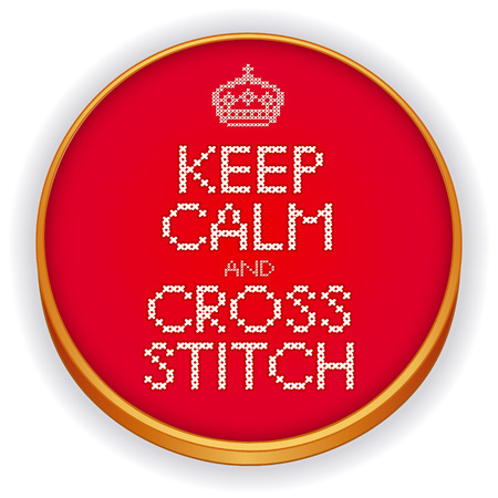 sampler: Keep Calm and Cross Stitch Embroidery with crown needlework design sampler on retro wood sewing hoop isolated on white