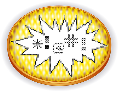 sampler: Embroidery Cross Stitch expletives in explosion frame design needlework sampler on retro wood sewing hoop isolated on white