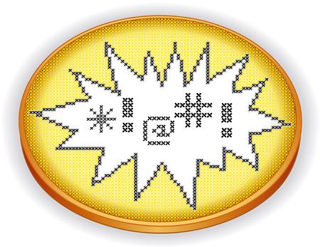 sampler: Improperios bordado de punto de cruz en el marco explosi�n dise�o de la costura sampler en aro de costura retro de madera aislado en blanco