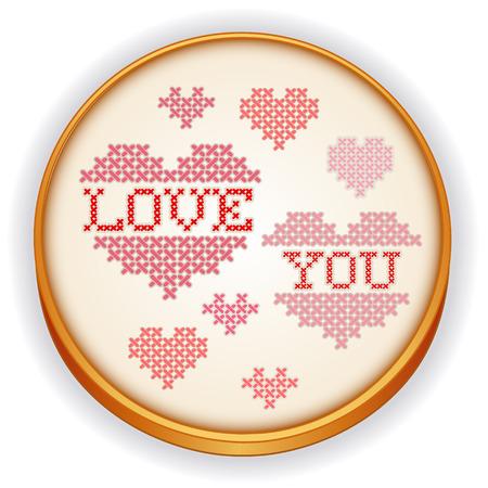 sampler: Amor usted de punto de cruz bordado dise�o de la costura sampler en la madera del aro de costura retro con un gran coraz�n rojo y rosa aisladas en blanco