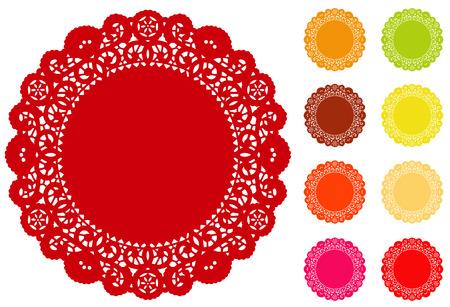 レース ドイリー ランチョン マット、テーブル ケーキデコレーション休日の工芸品のスクラップ ブックのアルバムを設定するための 9 の明るい色でコピー スペースでアンティークなビンテージ デザイン パターン 写真素材 - 25856325