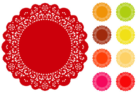 frilly: Lace Doily Place Mats, antique vintage design pattern with copy space in 9 bright colors for setting table cake decorating holidays crafts scrapbooks albums   Illustration