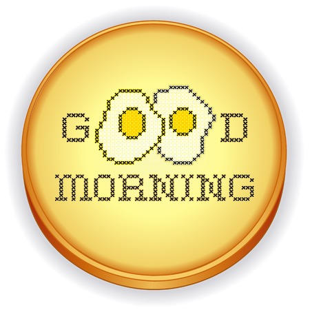 Good Morning with two fried eggs, fun cross stitch needlework design on retro wood embroidery sewing hoop isolated on white background