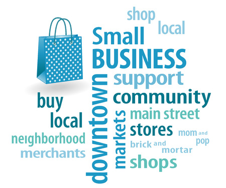 patronize: Small Business word cloud with shopping bag illustration in pastel aqua with polka dots  to support local neighborhood community businesses