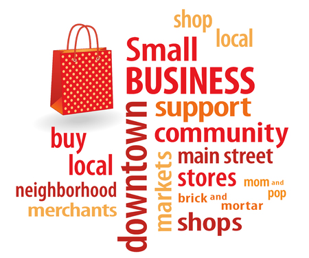 patronize: Small Business word cloud with shopping bag illustration in bright orange and red with polka dots  to support local neighborhood community businesses