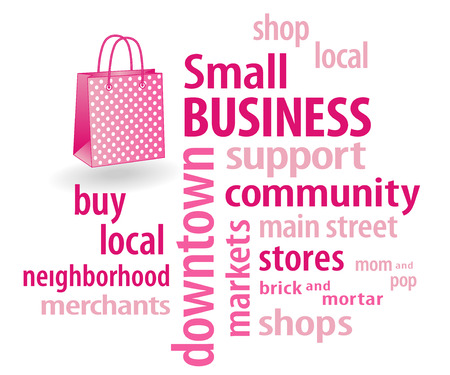 Small Business word cloud with shopping bag illustration in pastel pink with polka dots  to support local neighborhood community businesses  Illustration