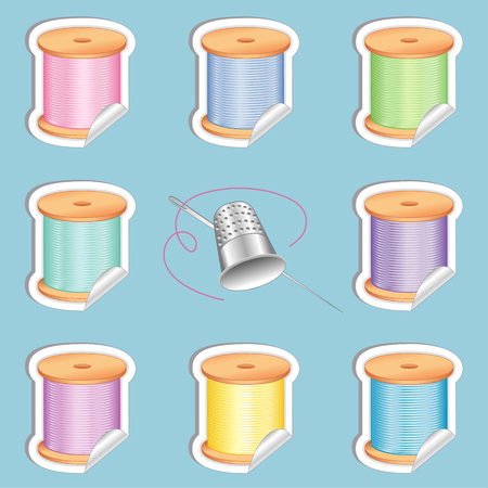 darning: Needle and Threads Shaded Stickers in eight pastel colors, Thimble for sewing, tailoring, quilting, crafts, needlework, do it yourself fashion, isolated on aqua background