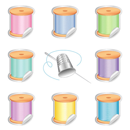 crewel: Needle and Threads Shaded Stickers in eight pastel colors, Thimble for sewing, tailoring, quilting, crafts, needlework, do it yourself fashion, isolated on white background