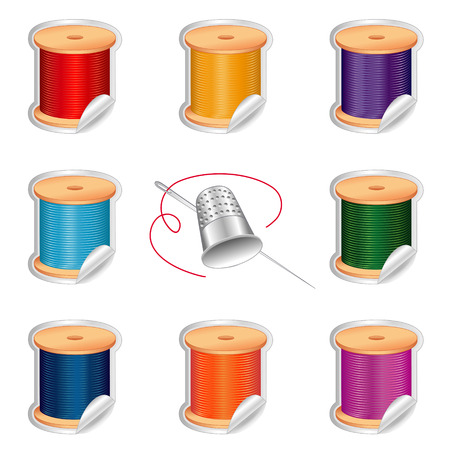crewel: Needle and Threads Shaded Stickers in eight primary colors, Thimble for sewing, tailoring, quilting, crafts, needlework, do it yourself fashion, isolated on white background