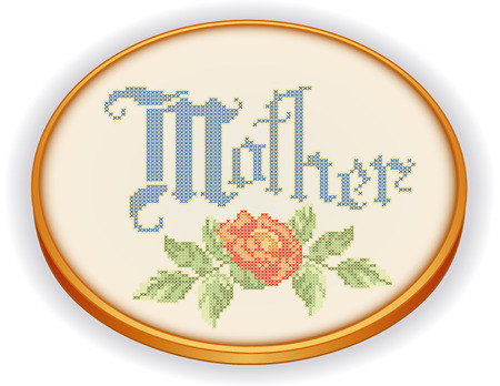 Mother Embroidery, retro oval wood hoop with vintage needlework sewing design