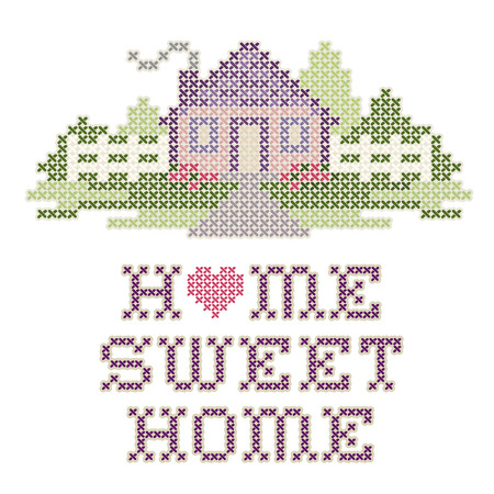 Vintage Embroidery Home Sweet Home Royalty Free Cliparts Vectors