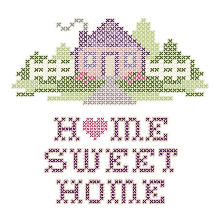 Weinlese-Stickerei, Home Sweet Home Standard-Bild - 27417539