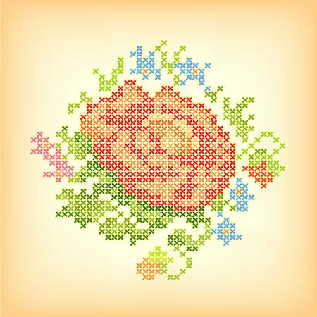 stitchery: Vintage Embroidery Rose  Illustration