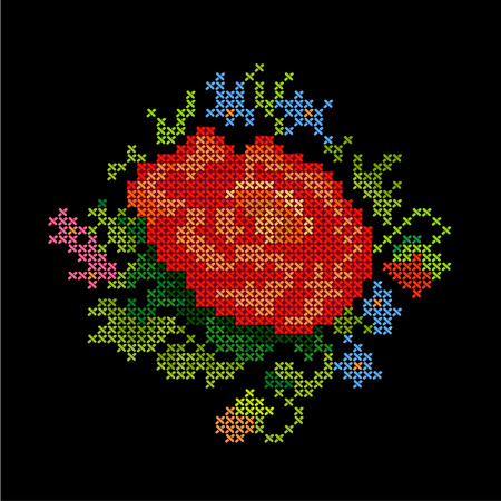 cross stitch: Vintage Embroidery  Red Rose   Illustration