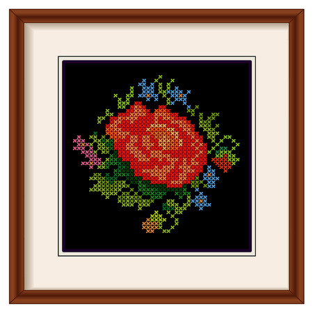 cross stitch: Vintage Embroidery  Red Rose
