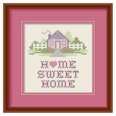 Vintage Embroidery, Home Sweet Home   イラスト・ベクター素材