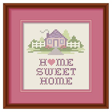 Weinlese-Stickerei, Home Sweet Home Standard-Bild - 27417546
