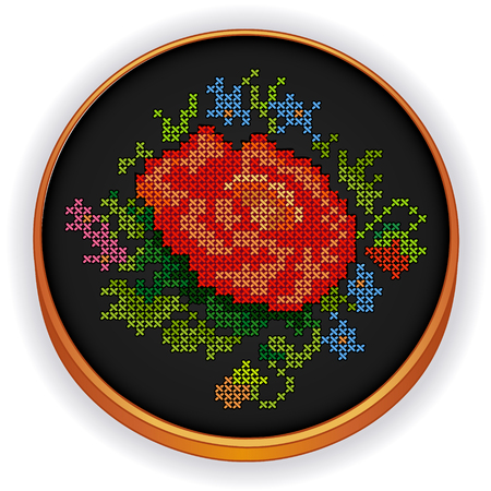 cross stitch: Embroidery  Red Rose  Illustration