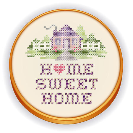 cross stitch: Vintage Embroidery, Home Sweet Home  Illustration
