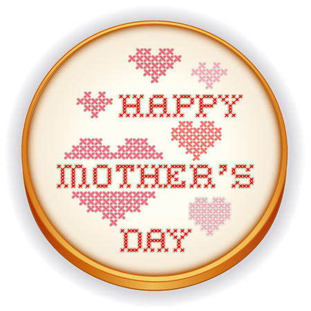 stitchery: Embroidery, Happy Mothers Day Illustration