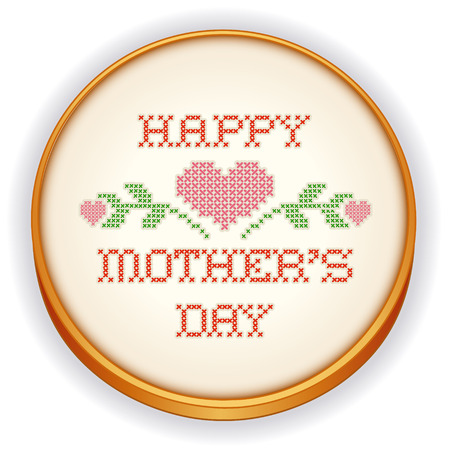 cross stitch: Embroidery, Happy Mothers Day Illustration