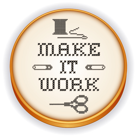 motto: Embroidery, Make It Work motto, fashion cross stitch needlework sewing design on retro wood hoop, needle, thread, safety pins and scissors, isolated on white background