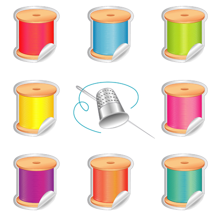 darning: Stickers, silver thimble, needle and spools of thread with strand detail, shaded stickers in eight summer beach colors for sewing, tailoring, quilting, crafts, needlework, do it yourself projects, isolated on white background