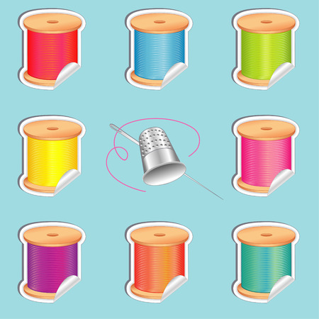 Stickers, silver thimble, needle and spools of thread with strand detail, stickers in eight summer beach colors for sewing, tailoring, quilting, crafts, needlework, do it yourself projects, isolated on aqua background