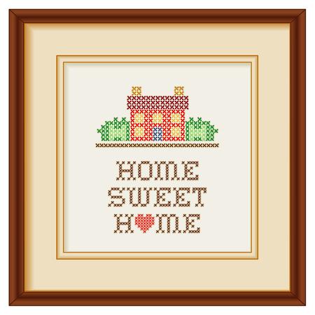 punto cruz: Bordado, Hogar, dulce hogar con un gran corazón rojo en colores rústicos, casa de costura en el paisaje de punto de cruz diseño gráfico de costura aisladas sobre fondo blanco, caoba marco de imagen