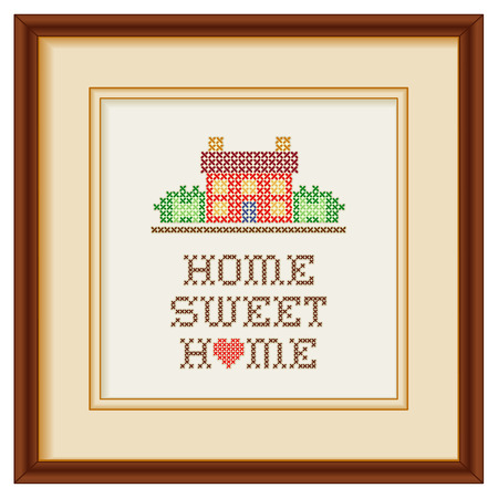embroidery on fabric: Embroidery, Home Sweet Home with a big red heart in rustic colors, needlework house in landscape graphic cross stitch sewing design isolated on white background, mahogany picture frame