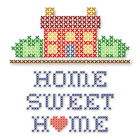 punto cruz: Home Sweet Home bordado cruz puntada, el corazón rojo grande, aislado en fondo blanco Vectores