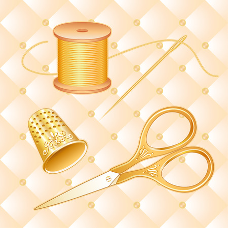 Gold Sewing Set on beige linen quilt background with antique embroidery scissors, thimble, needle, spool of golden thread for sewing, tailoring, needlework, craft and do it yourself projects