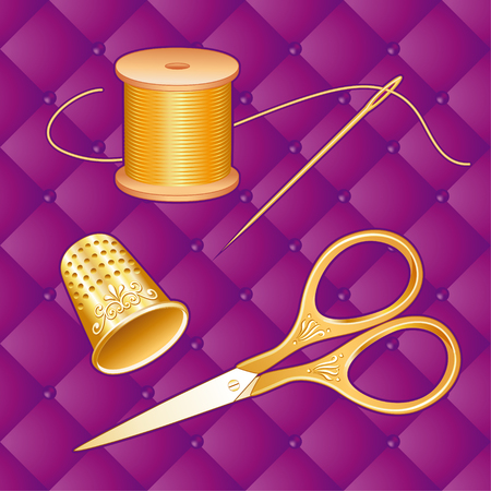 stitchery: Gold Sewing Set on lavender purple quilt background with antique embroidery scissors, thimble, needle, spool of golden thread for sewing, tailoring, needlework, craft and do it yourself projects