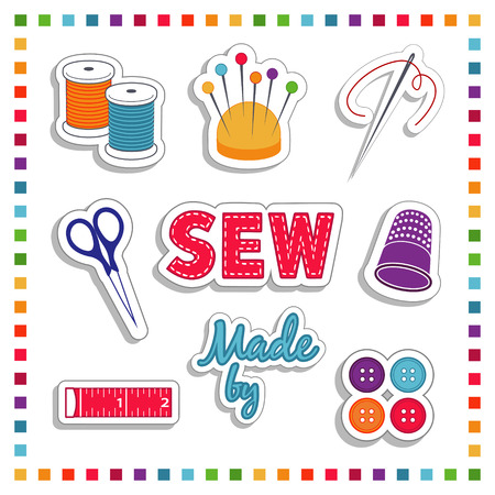needlework: Sewing Stickers for DIY  tailoring, needlework and crafts with needle, thread, scissors, pin cushion, label, thimble, buttons, tape measure  Rainbow frame isolated on white