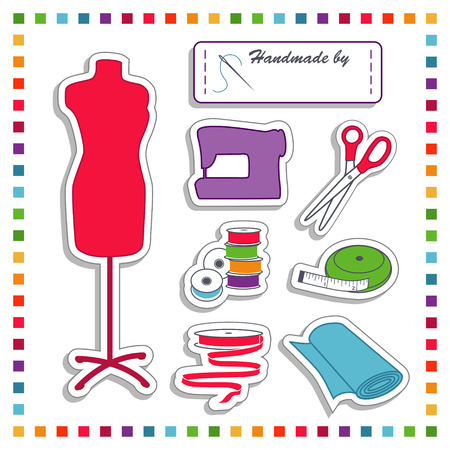 Fashion Stickers for DIY sewing and tailoring with mannequin, label with copy space, needle, thread, scissors, sewing machine, bobbins, tape measure, ribbon, bolt of fabric  Rainbow frame isolated on white background  Vector
