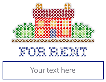 Real estate For Rent yard sign, retro cross stitch embroidery design, house in landscape, copy space to add information, isolated on white background   イラスト・ベクター素材
