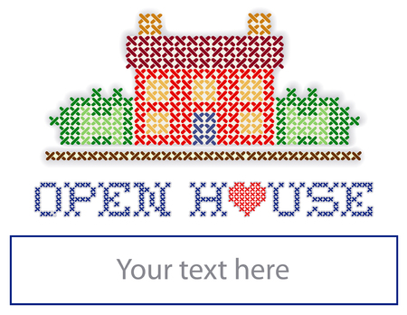 Real estate Open House yard sign, retro cross stitch embroidery design, house with a big red heart, copy space to add information, isolated on white background   Illustration