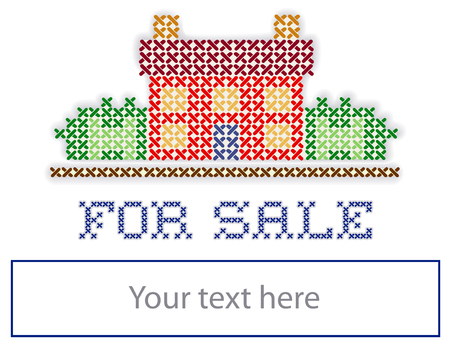 yard sign: Real estate For Sale yard sign, retro cross stitch embroidery design, house in landscape, copy space to personalize with information, isolated on white background